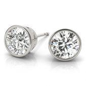 Round Moissanite Bezel Stud Earrings- 1.00tcw - 4.00tcw