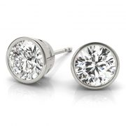 Round Moissanite Bezel Stud Earrings- 1.00tcw - 4.00tcw