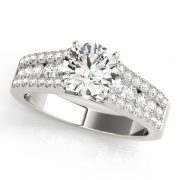 Round Moissanite Cross Band Engagement Ring - 2.75tcw