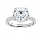 Round Moissanite Hidden Halo Engagement Ring - 1.55tcw - 5.30tcw