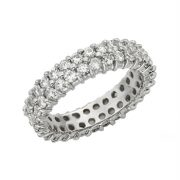 Round Moissanite Twin Band Eternity Wedding Band Ring - 3.00tcw - 7.36tcw