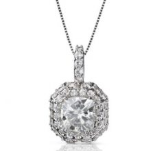 Cushion Forever One Halo Micro Pave Pendant