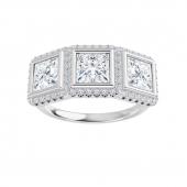 Square Moissanite Halo 3 Stone Engagement Ring -1.05tcw - 1.85tcw