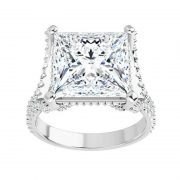 Square Moissanite Side Stones Engagement Ring - 2.30tcw - 4.10tcw