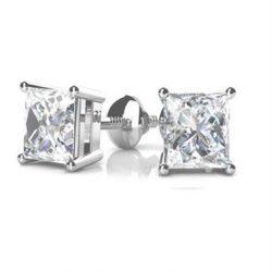 Square Moissanite Stud Earrings - 1.20tcw - 5.00tcw