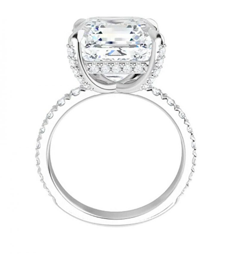 Asscher Moissanite Hidden Halo Engagement Ring - 3.21tcw - 3.88tcw