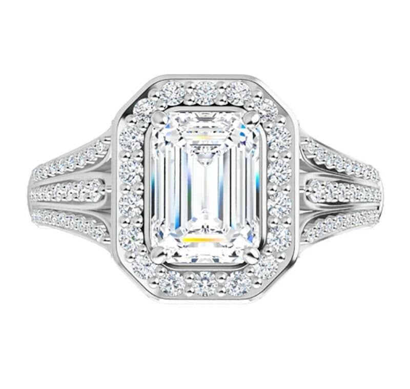 Emerald Moissanite Halo Micro Pave Engagement Ring - 2.75tcw - 6.00tcw