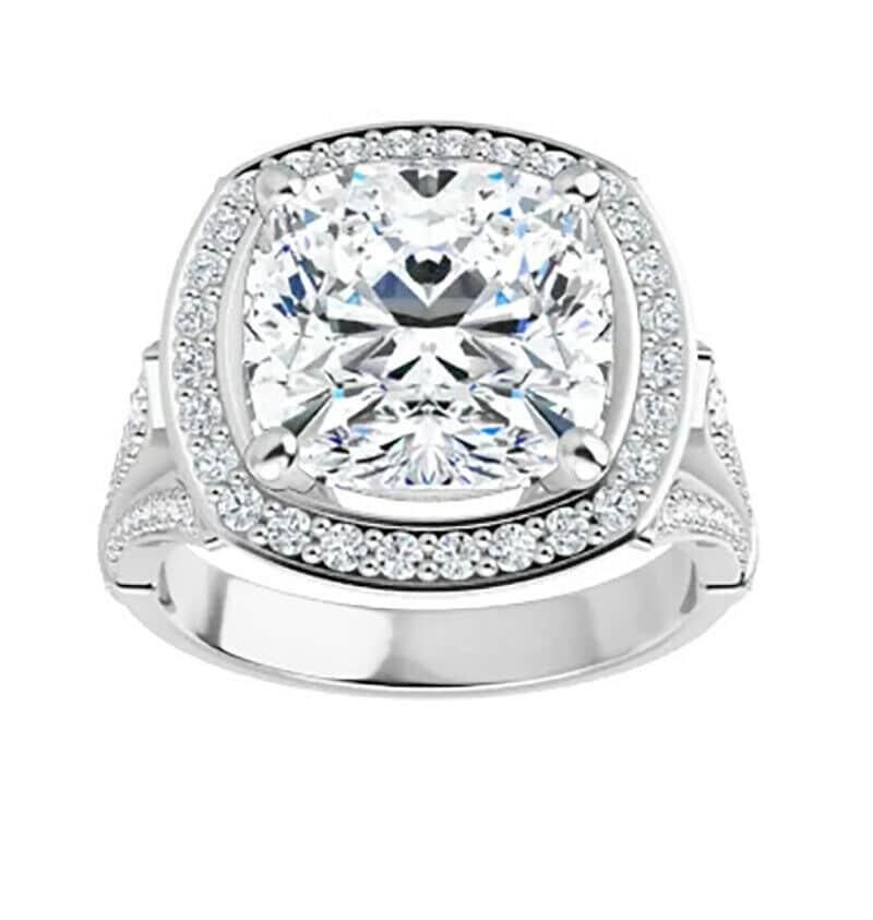 Cushion Moissanite Halo Bridal Set Rings - 2.84tcw - 6.16tcw