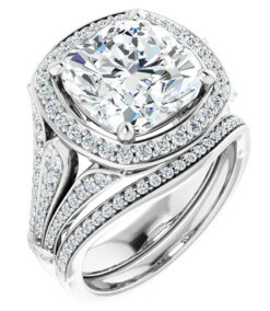 Cushion Moissanite Halo Engagement Ring - 2.70tcw - 6.02tcw