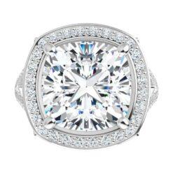 Cushion Moissanite Halo Engagement Ring - 2.70tcw - 6.02tcw
