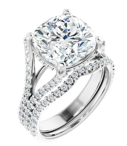 Cushion Moissanite  Moissanite Engagement Ring - 3.70tcw - 6.02tcw