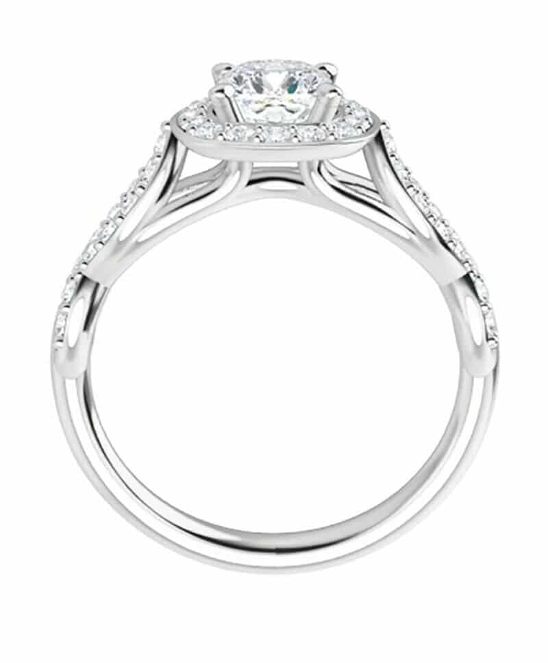 Emerald Moissanite Halo Flower Pave Engagement Ring - 2.25tcw - 4.05tcw