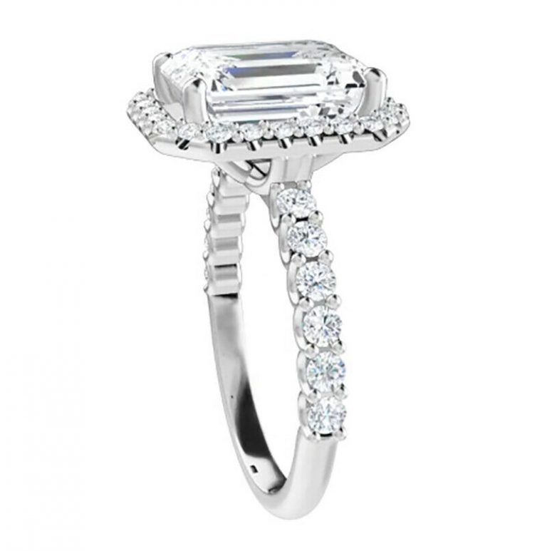 Emerald Moissanite Halo Pave Engagement Ring - 2.35tcw - 5.53tcw