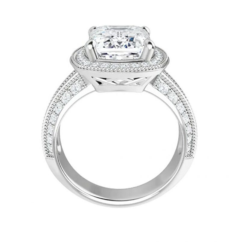 Emerald Moissanite Micro Pave Engagement Ring - 2.75tcw - 4.55tcw