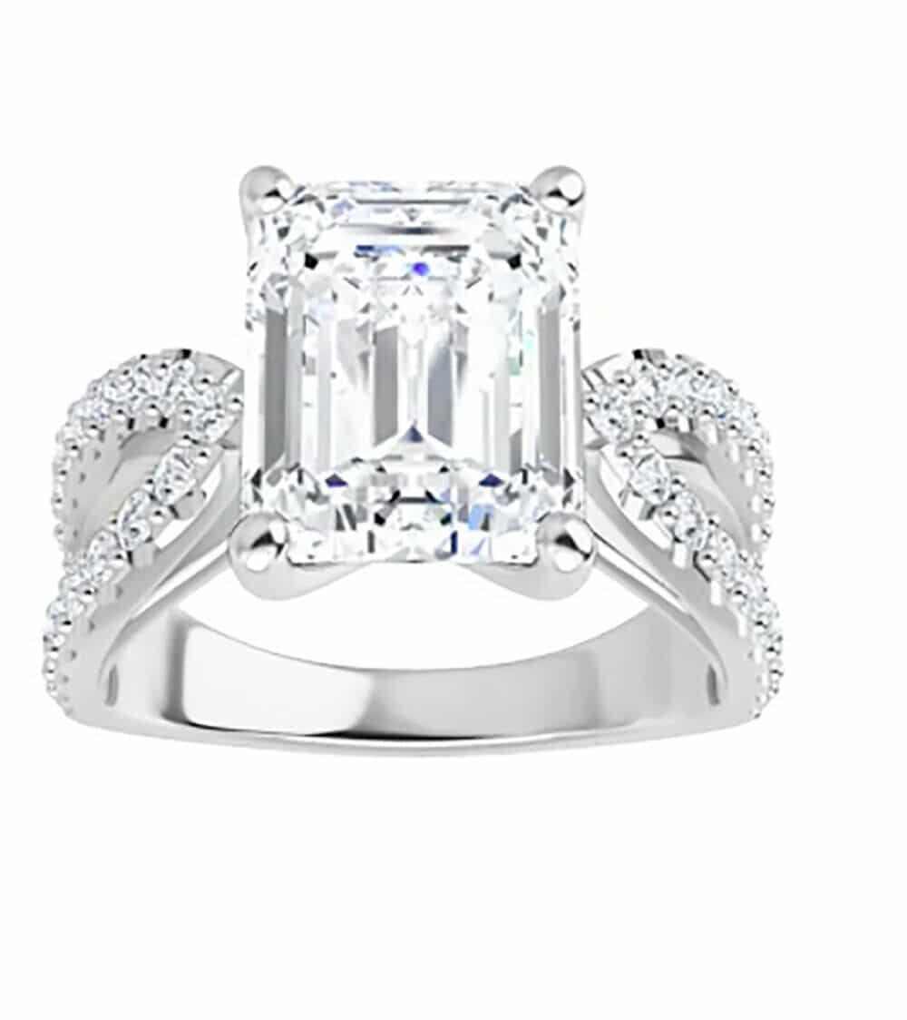 Emerald Moissanite Split Band Pave Engagement Ring - 3.02tcw - 5.43tcw