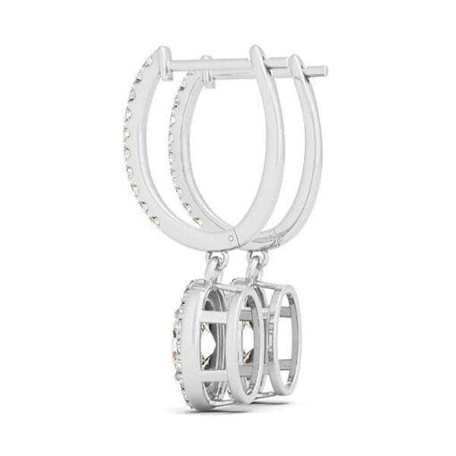 Oval Moissanite Halo Drop Earrings - 3.75tcw