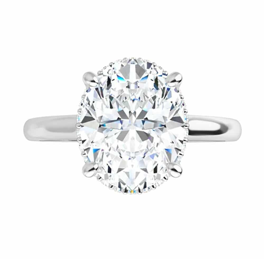 Oval Moissanite Hidden Halo Engagement Ring -1.75tcw - 4.45tcw