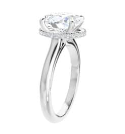 Oval Moissanite Hidden Halo Engagement Ring -1.75tcw -4.45tcw