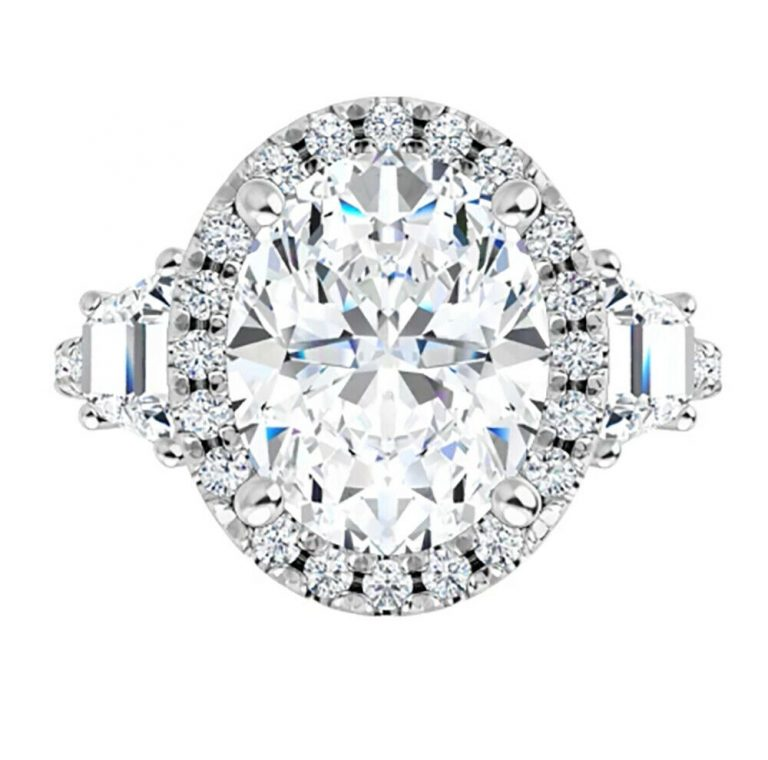 Oval & Trapezoide Moissanite  Halo Engagement Ring - 2.50tcw - 5.20tcw