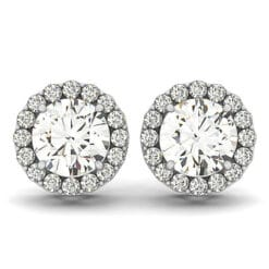 Round Moissanite Halo Stud Earrings - 4.00tcw