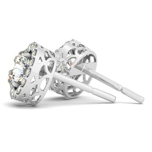 Round Moissanite Halo Stud Earrings - 3.80tcw