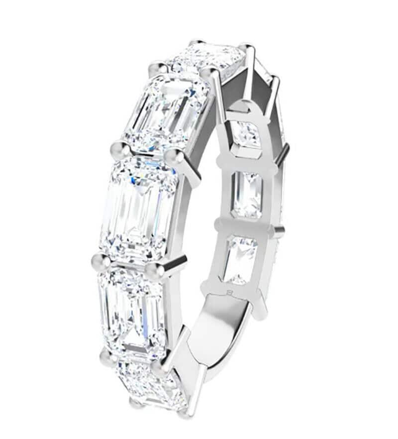 Emerald Moissanite Anniversary Wedding Band Ring - 5.80tcw