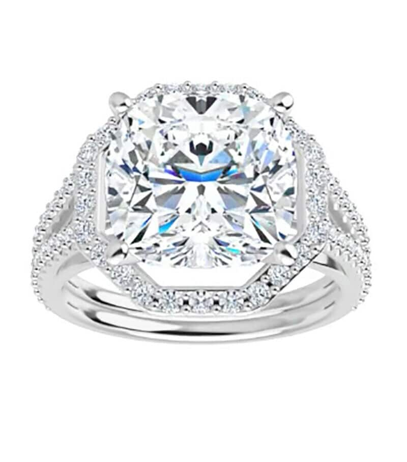 Cushion Moissanite Pave Engagement Halo Ring - 2.50tcw - 5.80tcw