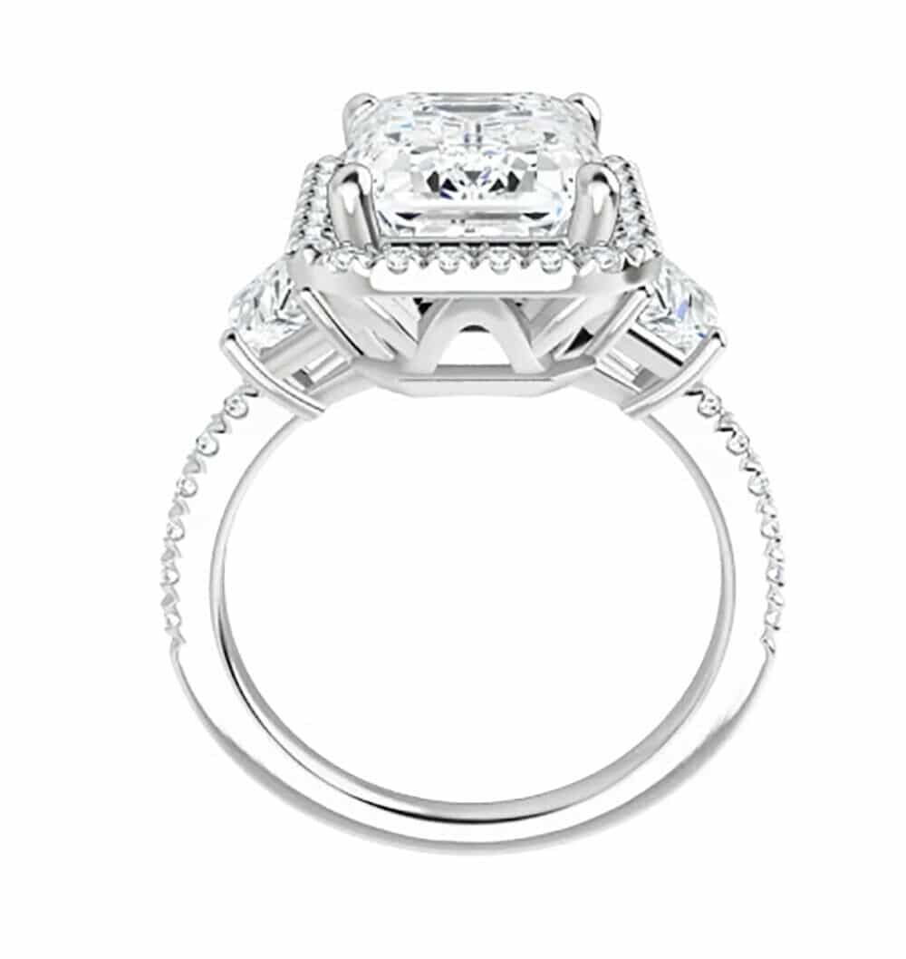 Emerald & Trapezoide Moissanite Halo Engagement Ring - 2.75tcw - 5.93tcw