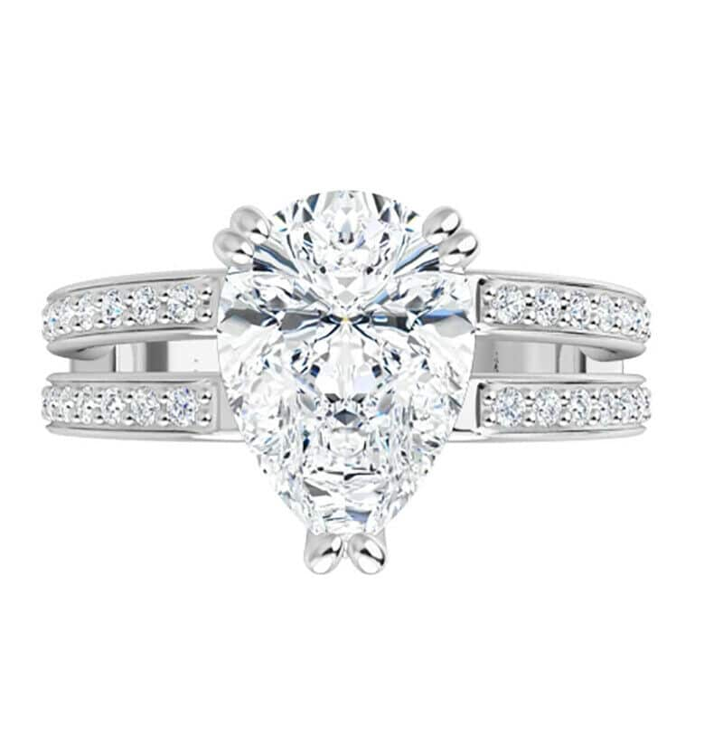 Pear Moissanite Side Stones Engagement Ring - 2.10tcw - 4.17tcw