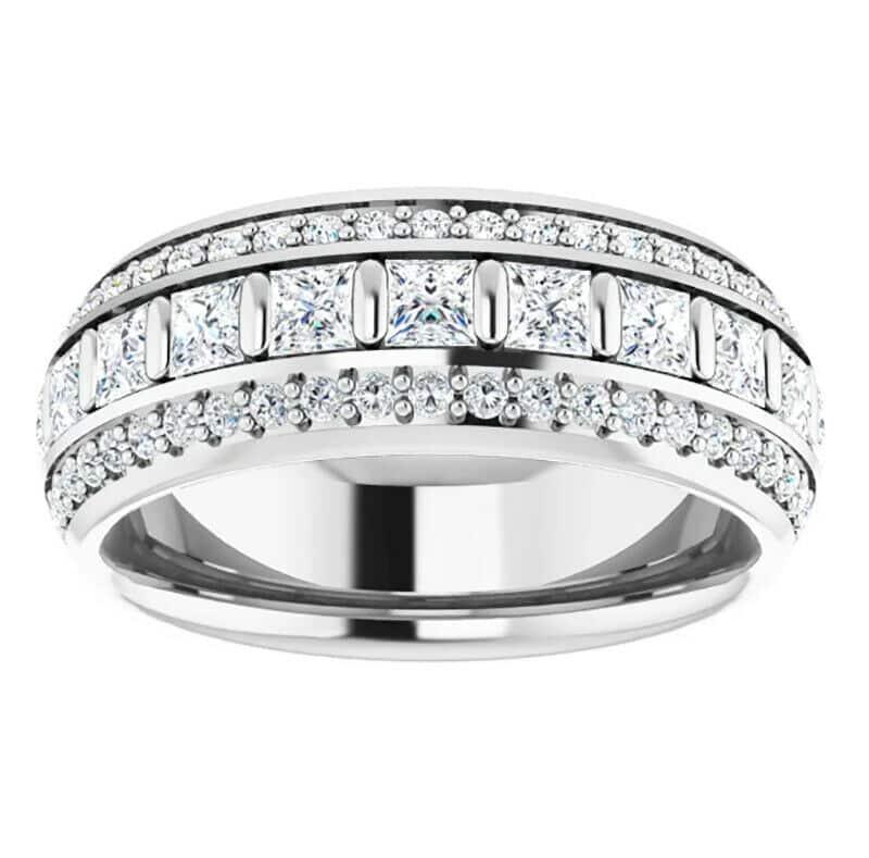 Round & Square Moissanite  Eternity Ring - 3.65tcw
