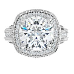 Round Moissanite Halo Micro Pave Engagement Ring - 2.00tcw - 4.00tcw