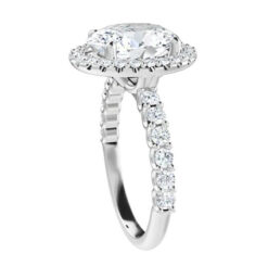 Cushion Moissanite Pave Halo Engagement Ring - 2.30tcw - 5.62tcw