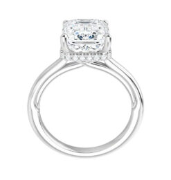 Emerald Moissanite Hidden Halo Engagement Ring - 2.00tcw -5.18tcw