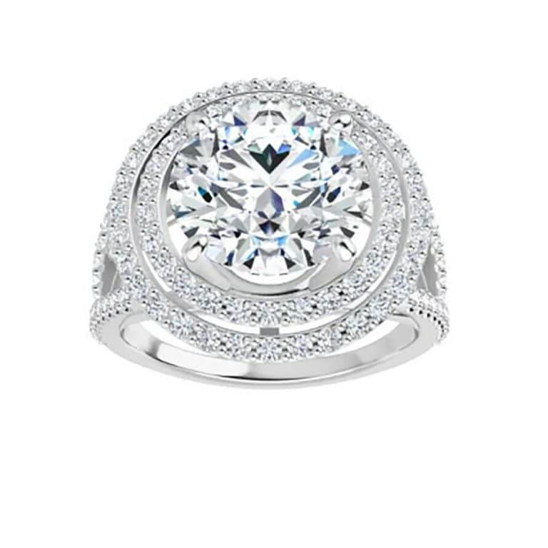 Round Moissanite Double Halo Pave Engagement Ring - 2.00tcw - 4.60tcw