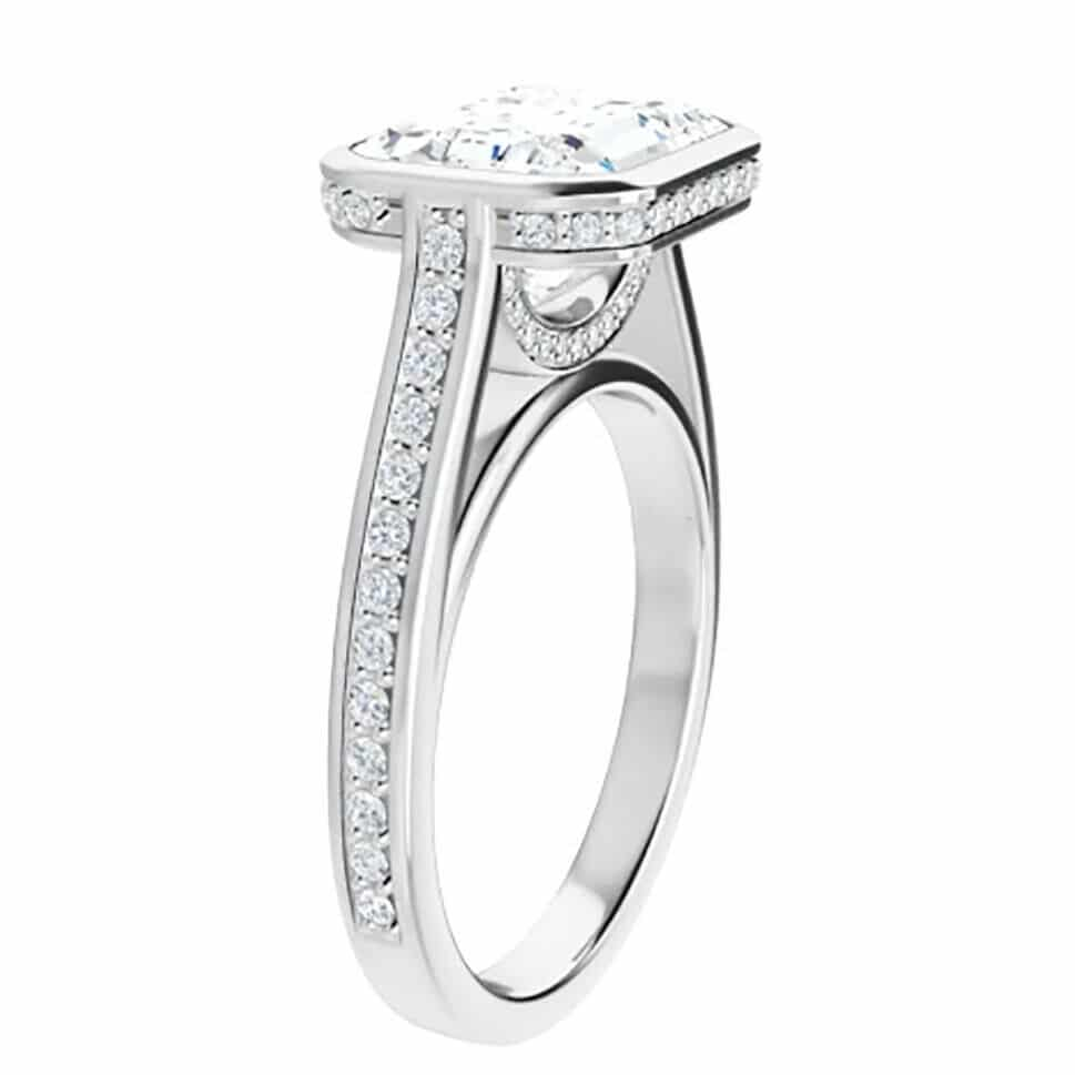 Emerald Moissanite Bezel Pave Engagement Ring - 2.15tcw - 5.35tcw