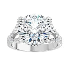 Round Moissanite Side Stones Engagement Ring - 2.90tcw - 7.13tcw