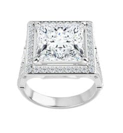 Square/Princess Moissanite  Halo Engagement Ring - 2.70tcw - 4.10tcw