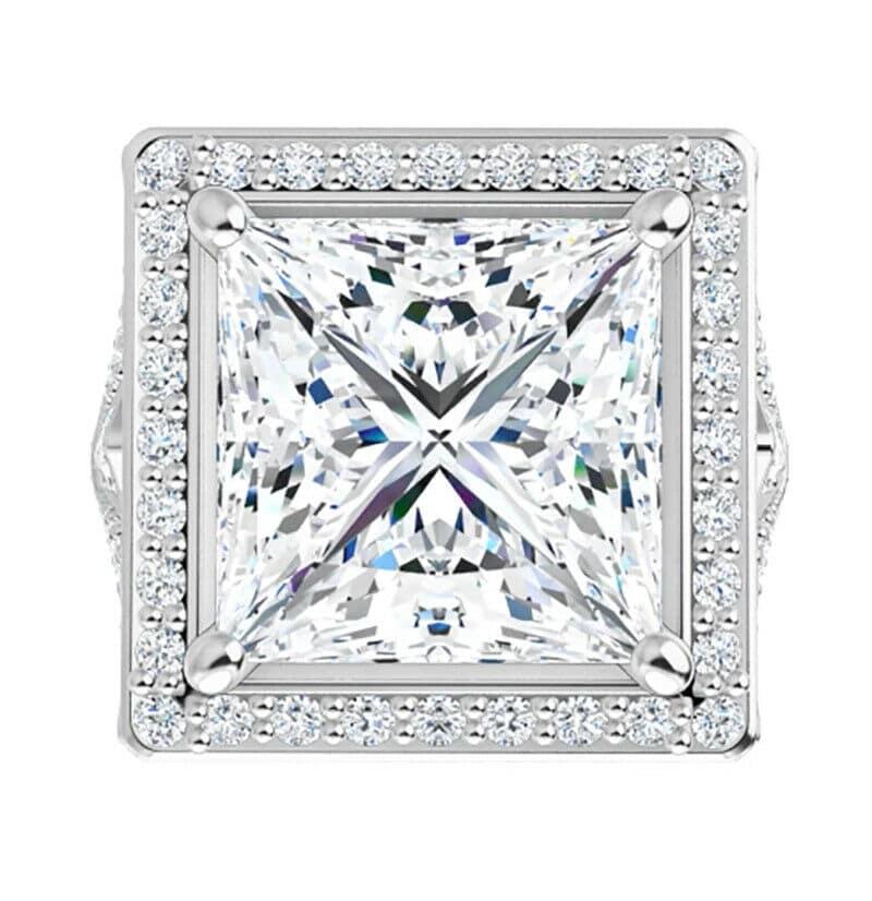 Square/Princess Moissanite  Halo Engagement Ring - 2.70tcw - 4.10tcw