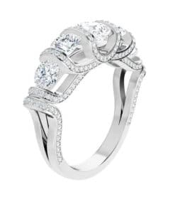 Asscher & Round Moissanite Anniversary Wedding band Ring - 2.11tcw