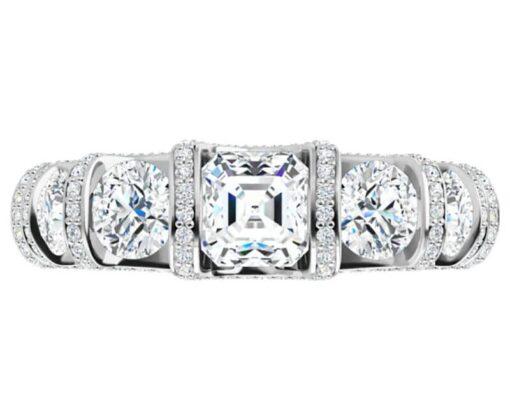 Asscher & Round Moissanite Anniversary Wedding band Ring - 2.11tcw