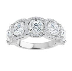 Cushion Moissanite 5 Stone Anniversary Wedding Band Ring - 3.75tcw