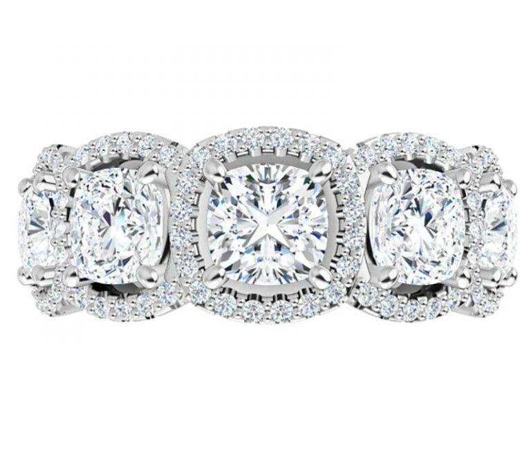 Cushion Moissanite 5 Stone Anniversary Wedding Band Ring - 3.75tcw