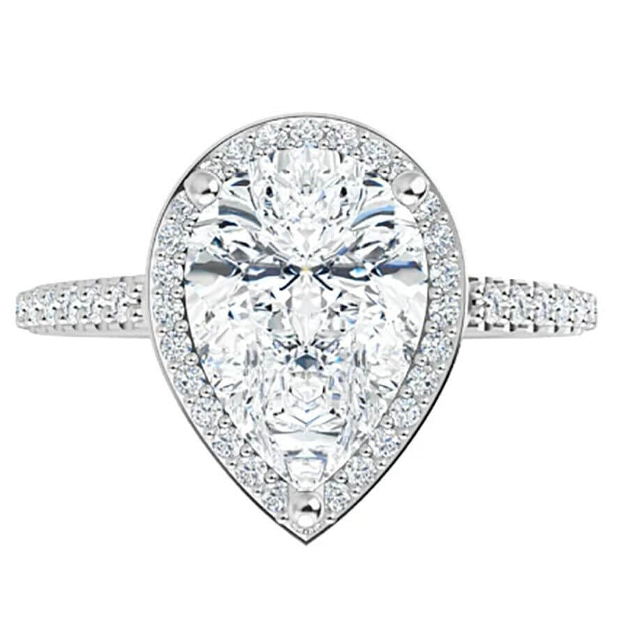 Pear Moissanite Halo Engagement Ring - 2.45tcw - 3.92tcw