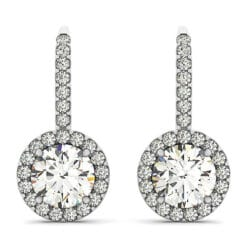 Round Moissanite Halo Drop Earrings - 1.30tcw - 6.00tcw