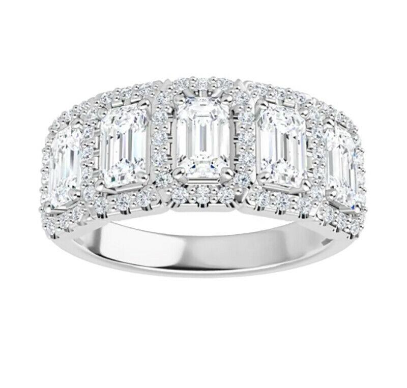 Emerald Moissanite 5 Stone Anniversary Wedding Band Ring - 3.28tcw