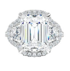 Emerald Moissanite  Halo Engagement Ring - 2.75tcw - 4.55tcw