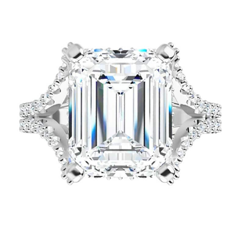 Emerald Moissanite Side Stones Engagement Ring - 2.75tcw - 4.55tcw
