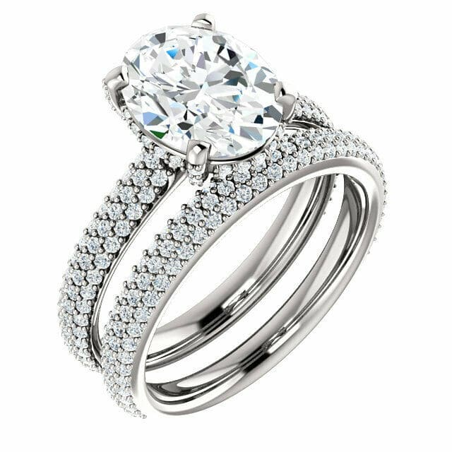 Oval Moissanite Hidden Halo Engagement Ring - 2.65tcw - 4.75tcw